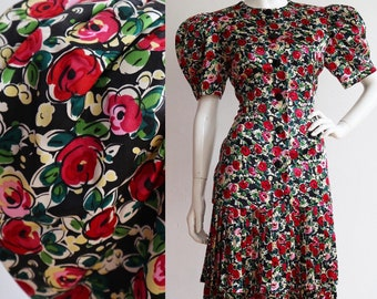 Vintage 1980s | Small | Two piece silk floral ensemble with massive puffed sleeves by Albert Nipon.