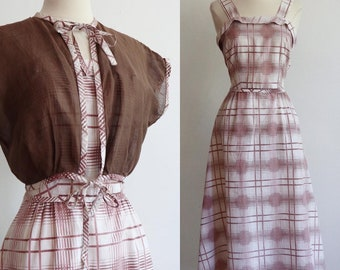 Vintage | S | 1940's lightweight cotton, shadow plaid, fit and flare sundress with matching bolero!