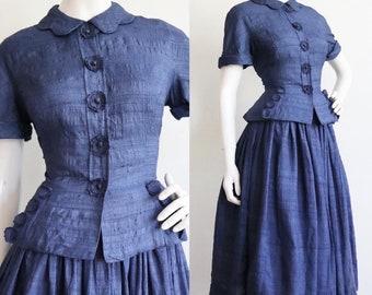 Vintage 1950s | medium | Rare two piece silk ensemble my designer Mollie Parnis!