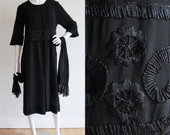 Antique 1910's-20's | Medium | Silk crepe embroidered dress with fringe
