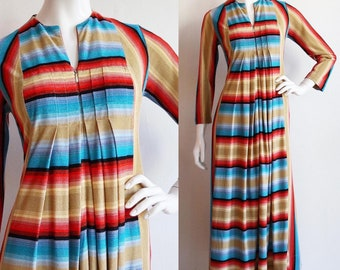Vintage 1970s   S-M   zip front dress with pockets