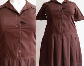 Vintage 1960s | XL/XXL | Volup cotton day dress with dropped waist and plated skirt