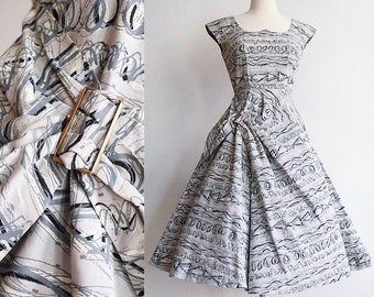 Vintage XS 1950's | hand painted cotton sun dress | 50's swing day dress