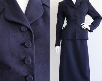 Vintage 1950s | medium | midnight blue wool gabardine skirt suit.