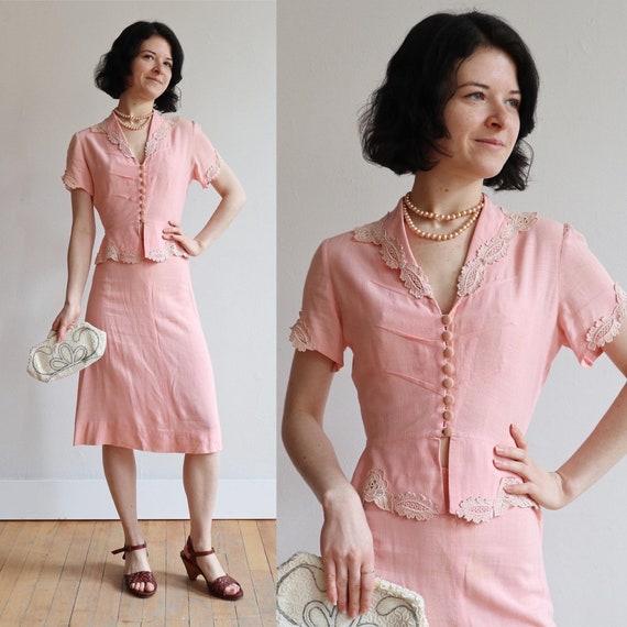 Vintage 1940's | Juniors pink linen suit | 30's 40