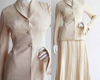 Vintage 1954 | Small | worsted wool skirt suit - going away ensemble