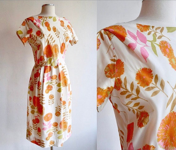 Vintage L 1960's | Silk Floral Day Dress | 60's sh