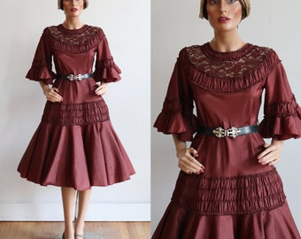 Antique 1920's | size small | Burgundy silk taffeta evening dress with bell sleeves and circle skirt