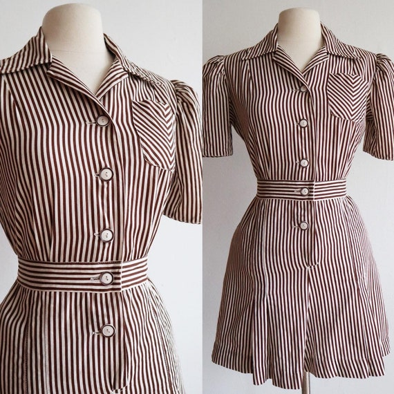 Vintage 1940s | small | rare pinstriped cotton rom