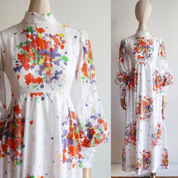 Vintage 1970s | XS | floral abstract prairie dress