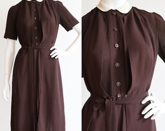 Vintage 1940s | Medium | chestnut brown rayon jersey maternity dress