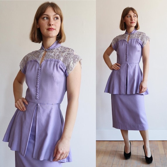 Vintage | S | 1940's exquisite lilac linen wiggle/