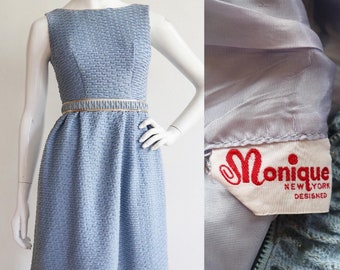 Vintage 1960s | XS | acrylic knit dress with sparkly gold woven thread and trim