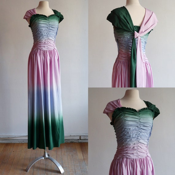 Vintage S 1940's | multi-coloured shirred taffeta
