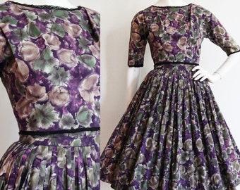 Vintage 1950s | XS | cotton floral sundress