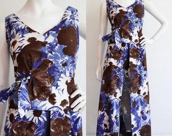 Vintage 1960s | M/L | Cotton floral two piece beachcomber set