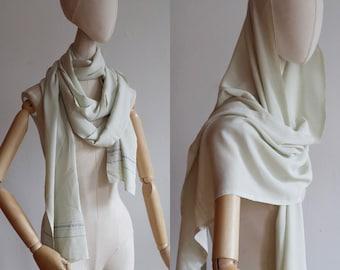 Antique 1910's-1920's | O/S | Pistachio cream silk crepe shawl/scarf with selvage