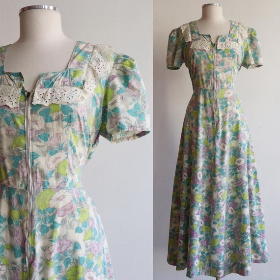 Vintage | L/XL | 1930s/1940s zip front cotton flor