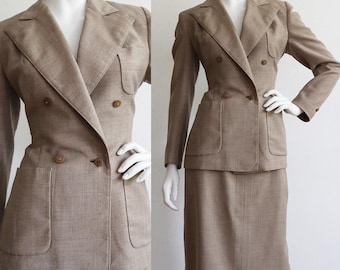 Vintage 1950s | Medium | Beautifully tailored wool garbardine skirt suit from The Hudson's Bay Company.