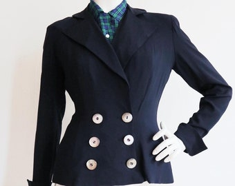 Vintage 1940s | S-M | Navy blue, summer weight rayon blazer with double breasted closure.