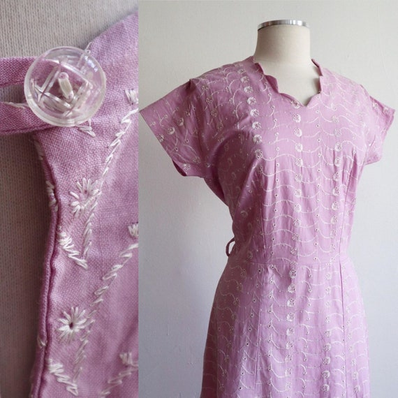 Vintage | L | 1930's cotton eyelet house dress | s