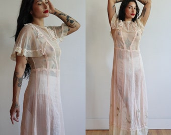 Antique 1900's 1910's | Small-Medium | Edwardian petal pink silk net and cotton voile rose embroidered dress
