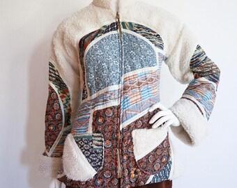 Vintage 1970s | Medium | Patchwork teddy coat