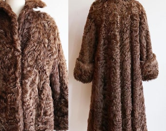 Vintage 1940s | M/L | Curly Mongolian lamb swing coat | bell sleeve | crepe lined