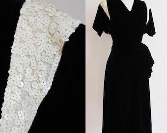 Vintage 1940s | Small| softest rayon velvet cocktail dress with sequinned shoulder + hip sawg