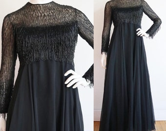 Vintage 1960s | Small | Glamorous beaded chiffon gown by designer Victoria Royal!