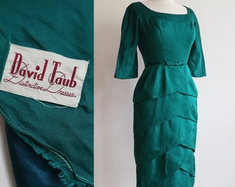 Vintage 1950s   XS/S   Bombshell emerald silk charmeuse wiggle dress with tiered petal skirt