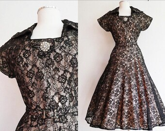 Vintage 1940's / 40's black lace nude illusion swing dress / size medium