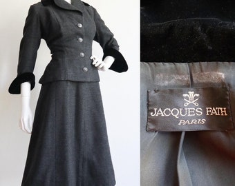 Vintage 1950s | M/L | Jacques Fath haute couture, wool tweed and velvet skirt suit