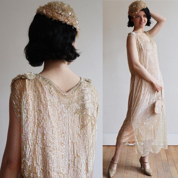 RARE 1920's | Antique French couture sequinned and