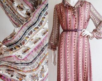 Vintage 1970s | L-XL | silk chiffon micro floral shift by Richilene New York.