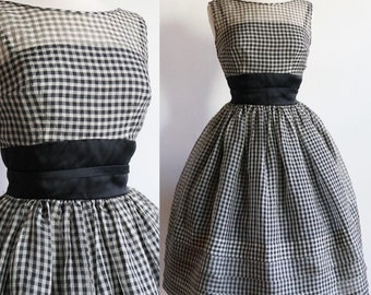 Vintage 1950s | Small | Gingham cotton organdie sun dress by Jerry Gilden