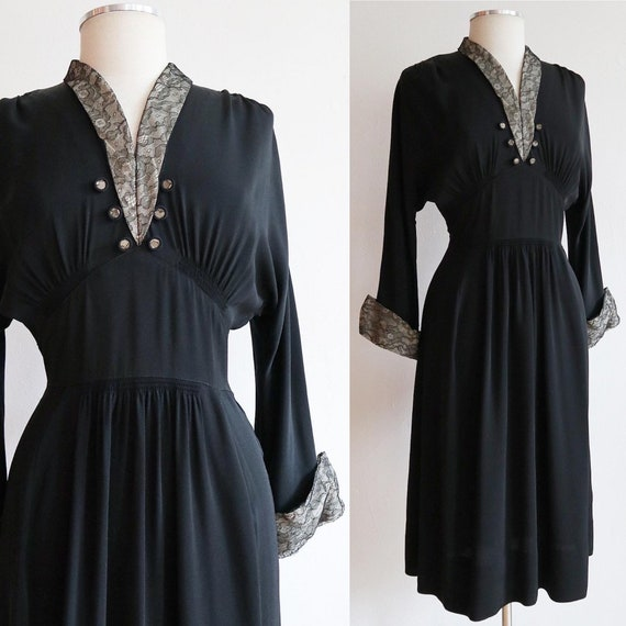 Vintage 1940's | S-M | Smocked rayon jersey dress