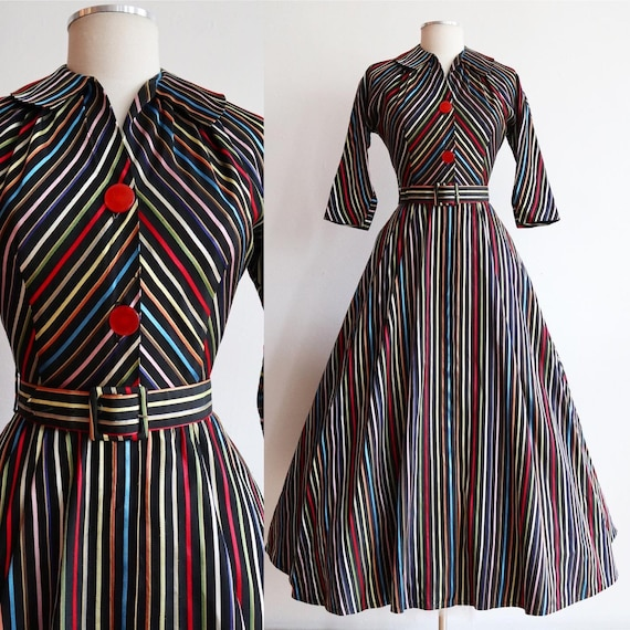 Vintage 1950s | Small | Rainbow taffeta hostess go