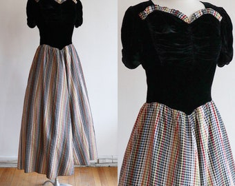Vintage L 1930's | silk velvet and gingham taffeta gown | 30's plaid dress