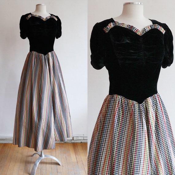 Vintage L 1930's | silk velvet and gingham taffeta