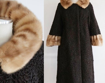 Vintage 1950s   Large   chocolate Persian lamb fur coat with mink collar and cuff
