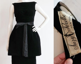 Vintage 1950s | XS | Suzy Perette rayon velvet cocktail dress with over skirt