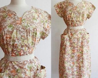 Vintage Volup 1950s   L-XL   floral cotton house dress