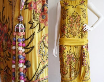 Vintage Antique 1920s | Medium | Saffron yellow silk flapper dress with delicious candy coloured beadwork + gold bullion embroidery!