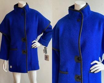 Vintage 1980's Deadstock   size small   Hudson's Bay cobalt wool coat