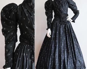 Antique vintage 1890s | XS | Victorian polished cotton ensemble | comet print