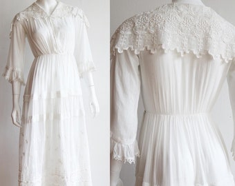 Antique Vintage | XS | Edwardian Tea dress with beautiful embroidery | tiered skirt and bell cuff
