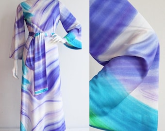 Vintage 1970s | M-L | Brushstroke polyester maxi dress with bateau neckline