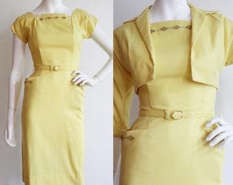 Vintage 1950s | XS-S | Yellow cotton blend wiggle dress and jacket ensemble.