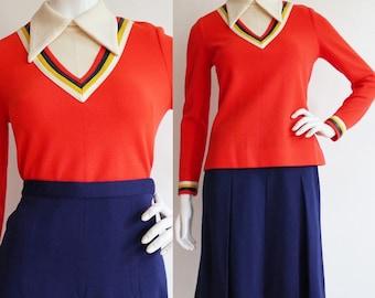Vintage 1960s | S/M | Colour block knit set.